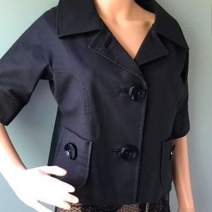 Big Button Black Quarter Sleeve Jacket